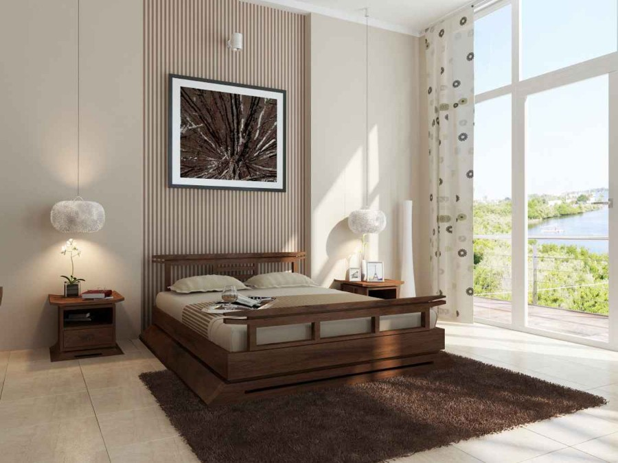 Неправильный ковёр для спальни. Тёмно-коричневый